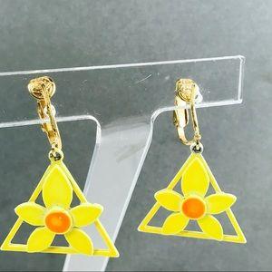 Vintage Enamel Daffodil Flower Clip Earrings
